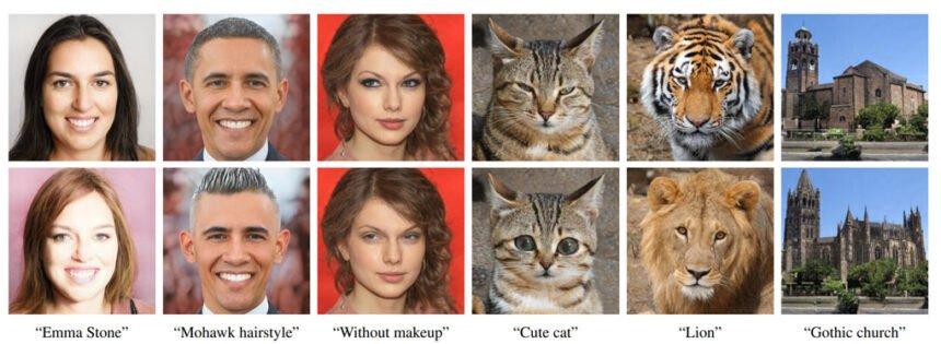 KI-generierte Bilder, mit bestimmten Details wie Haarfarbe oder Augen, die per Texteingabe geändert wurden