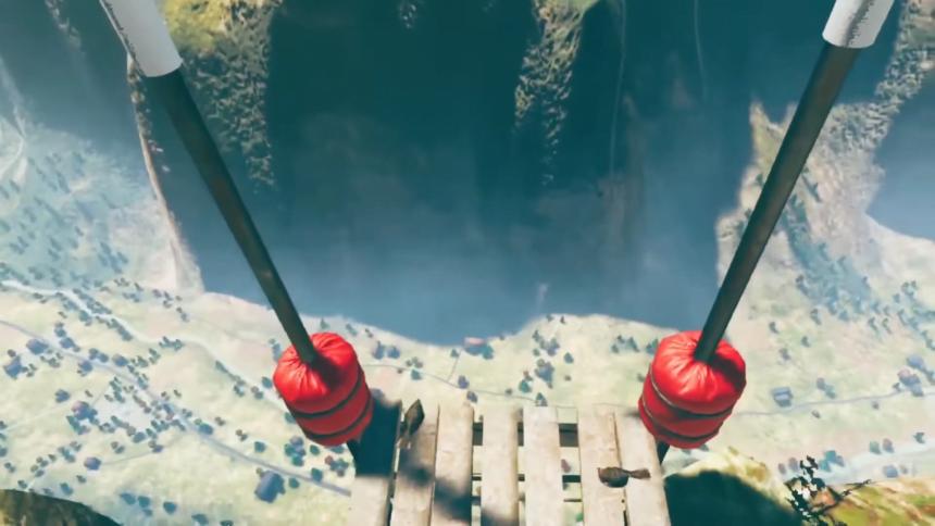 Ein Holzsteg führt über eine Klippe und gibt den blick in einen virtuellen Abgrund frei.