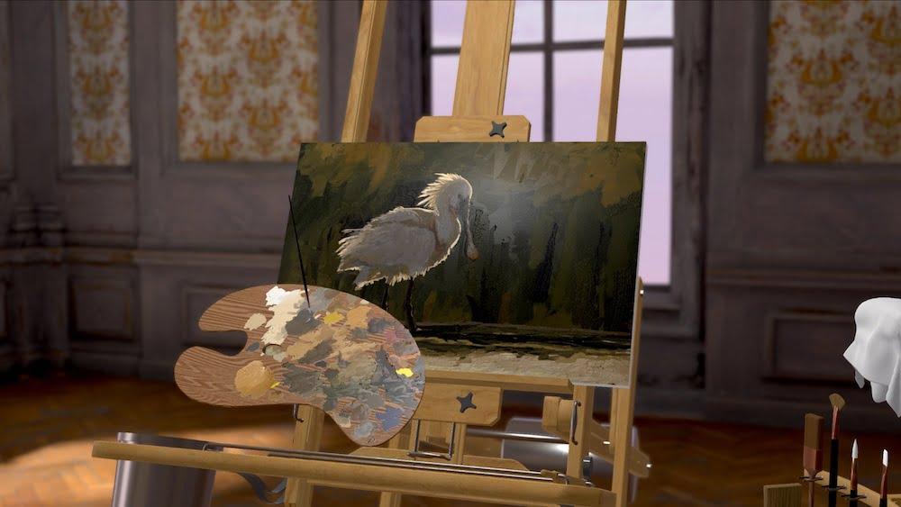 Blick auf eine virtuelle Staffelei, auf der ein Gemälde entsteht.