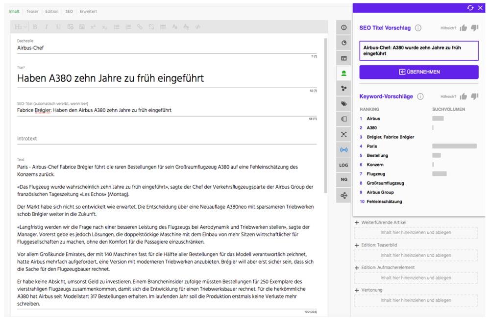 Das KI-Werkzeug ist für die Welt-Redaktion von Axel Springer direkt im Text-Editor verfügbar. | Bild: Anastasiu et al.
