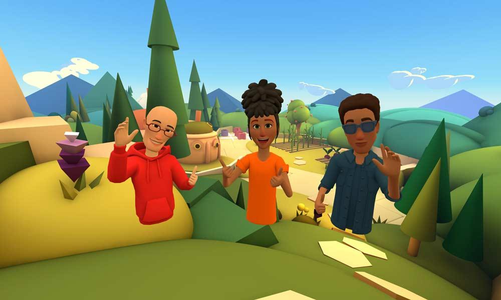Avatare ais Facebook Horizon winken in die Kamera für ein Gruppenfoto.