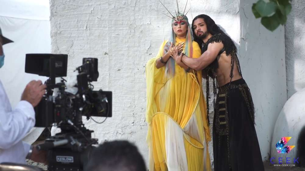 Lady Gaga bei den Dreharbeiten zu ihrem Musikvideo zu 911.