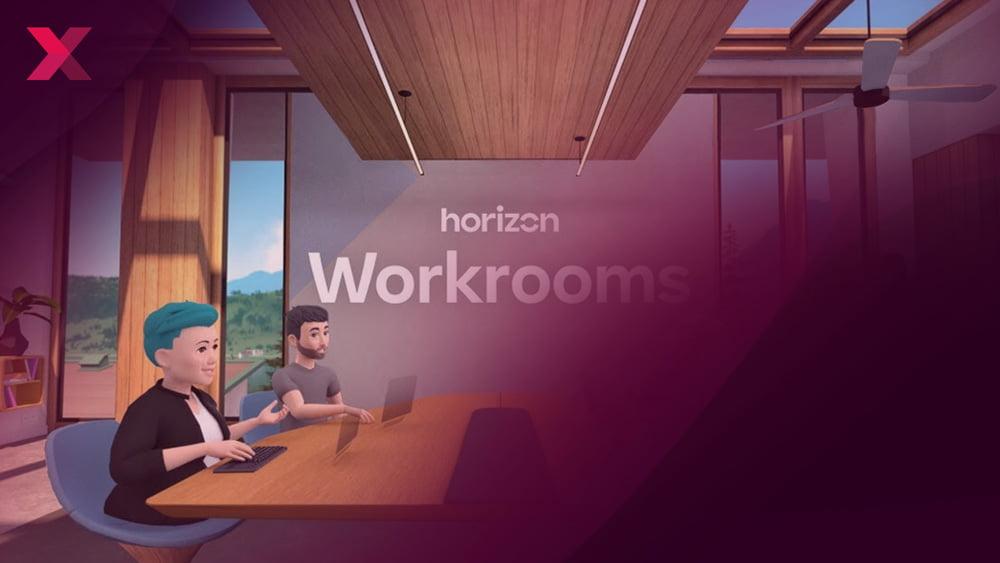 Titelbild Workrooms, Avatare schauen sich in einem Konferenzraum gegenseitig an und sitzen an einem Tisch und sprechen.