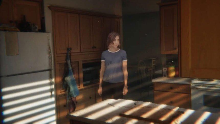 Eine in 3D gefilmte Frau steht in einer in 3D gerenderten Küche.