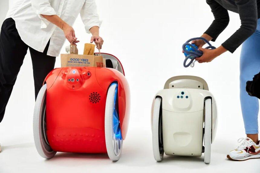 Ein großer Transportroboter und ein kleiner Transportroboter.