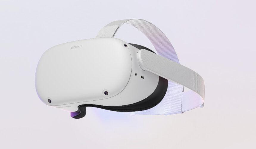 Ein Bild der VR-Brille Oculus Quest 2 von Facebook in weißer Farbe