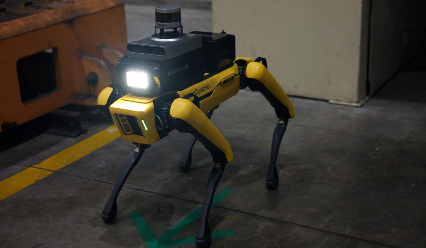 Ein Roboter mit vier Beinen ähnlich wie ein Hund steht im Bild. Er trägt eine Lampe und einen Radar auf dem Rücken.