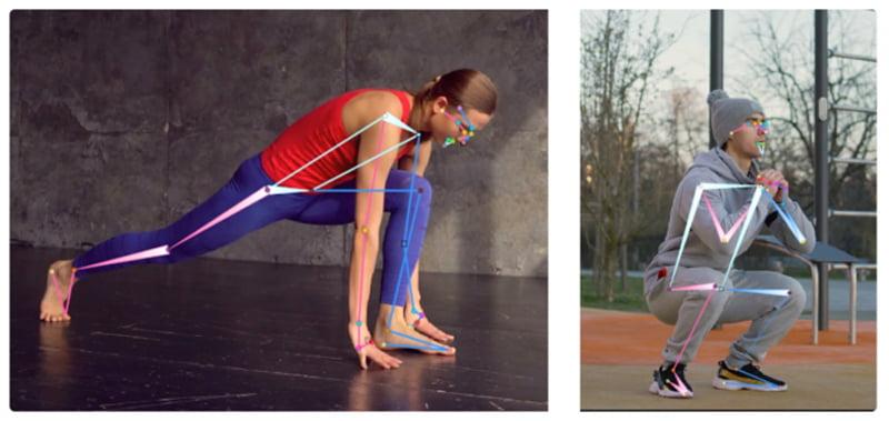 Eine Frau dehnt sich, ein Mann macht eine Kniebeuge. Auf ihren Körpern sind Linien mit dünnen und dicken Enden eingezeichnet, die dem KI-System beim Training zeigen, welcher Körperteil näher an der Kamera ist.