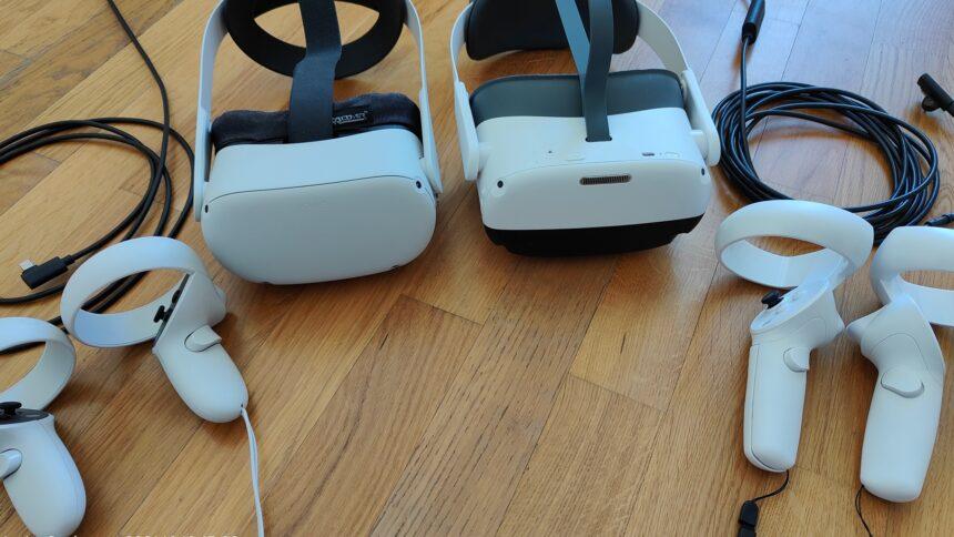Pico Neo 3 Pro und Oculus Quest 2 samt VR-Controllern und Link-Kabeln