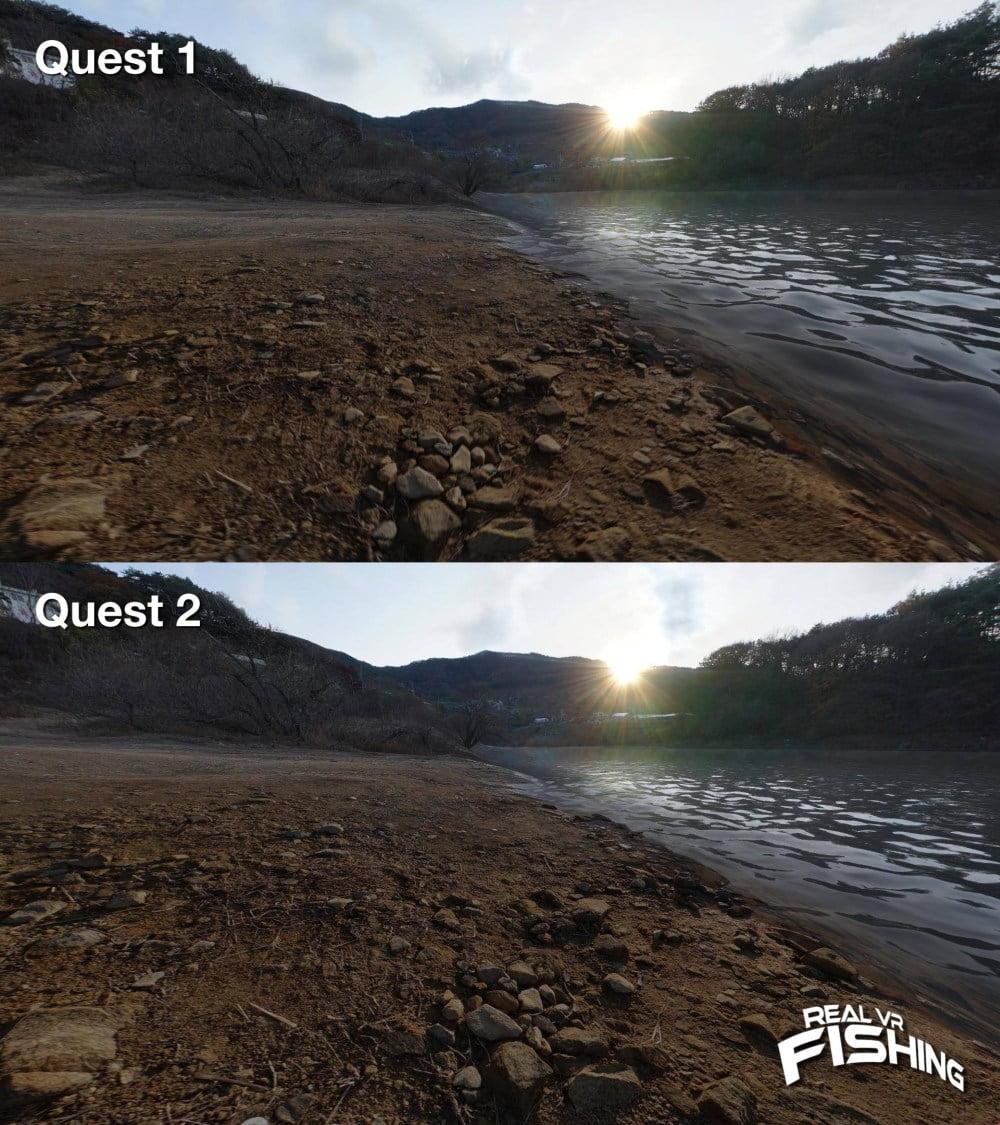 Vergleich der VR-App Real VR Fishing in den Versionen für Oculus Quest und Oculus Quest 2.