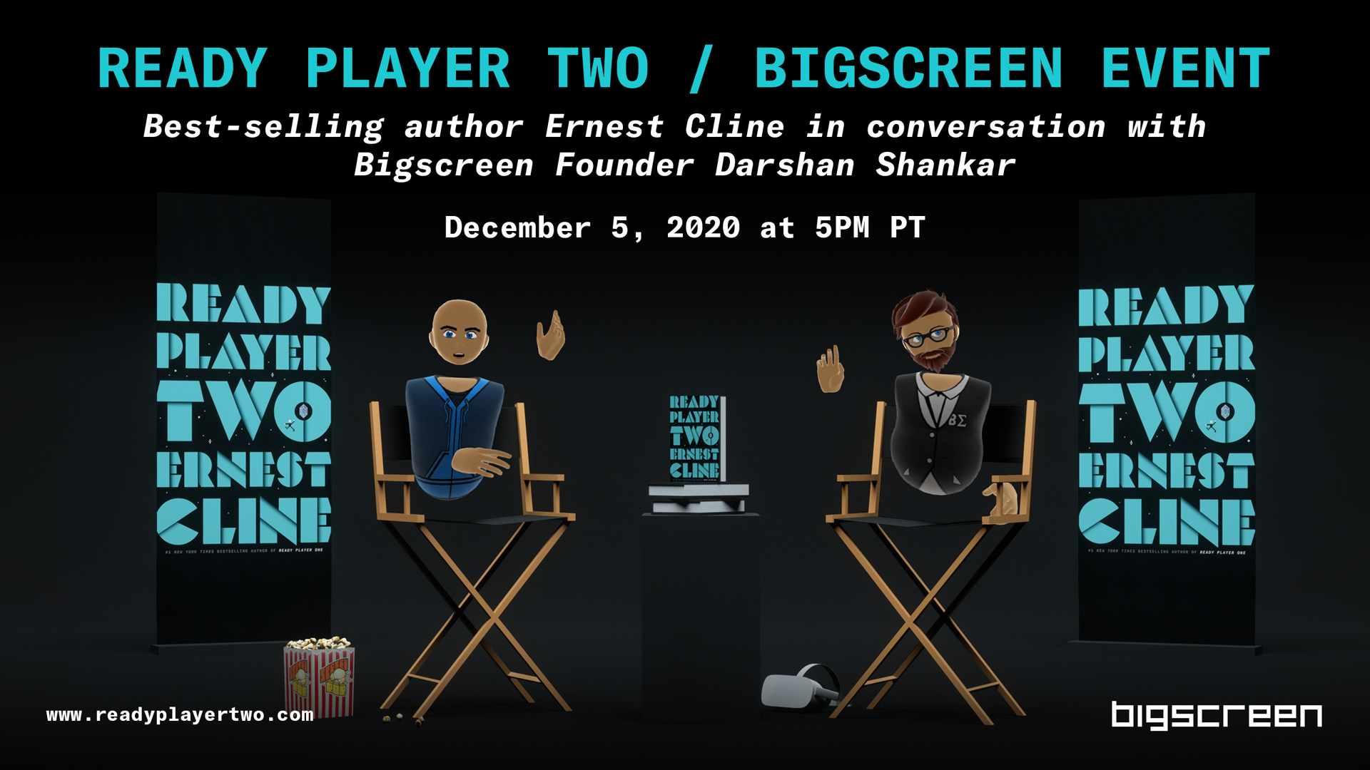 Plakat zum Q&A von Ernest Cline und Darshan Shankar in Bigsreen VR über Ready Player Two.