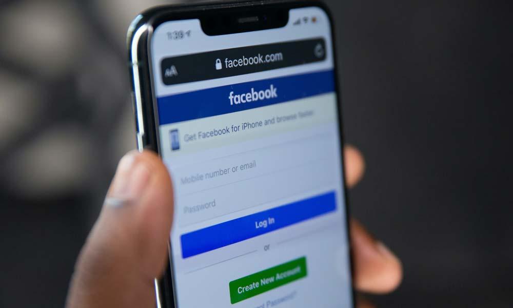 Ein Login-Bildschirm für Facebook auf einem Smartphone