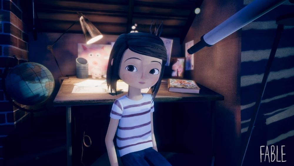 Ein digitales kleines Mädchen sitzt in einem Raum und schaut in die Kamera. Auf dem Holzschreibtisch liegen viele Gegenstände.