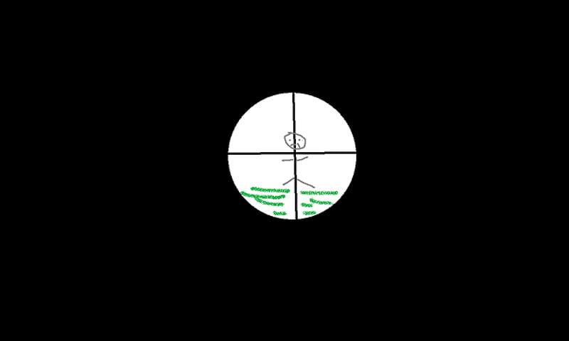 Eine Reihe von Design-Entscheidungen seitens Respawn sind nicht VR-optimal. Das Zielfernrohr ist ein gutes Beispiel: Anstatt wie bei einem echten Gewehr hindurchzulinsen und gleichzeitig die Umgebung im Blick zu haben, wechselt der Bildschirm in eine spezielle Fernrohransicht, die die Umgebung ausblendet. | Bild: Eigene Darstellung Maximilian Schreiner