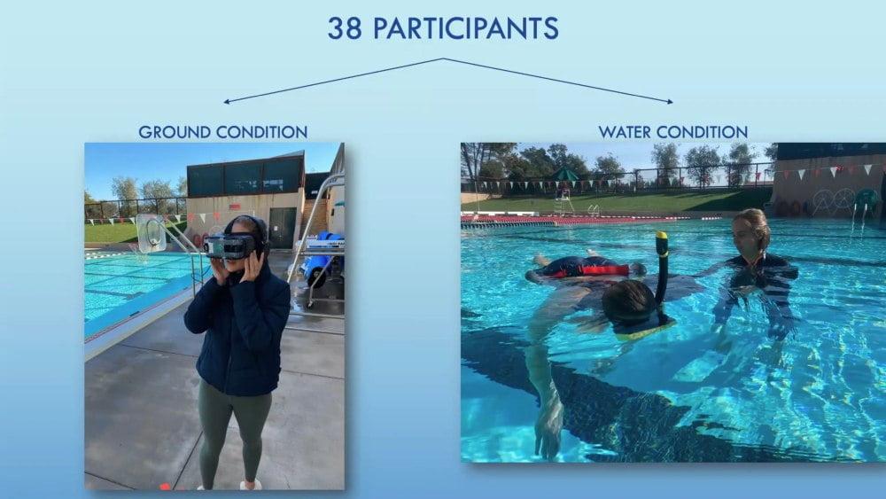 Studienteilnehmer die mit einer VR-Brille an Land und im Wasser eine virtuelle Tauchsimulation erleben.