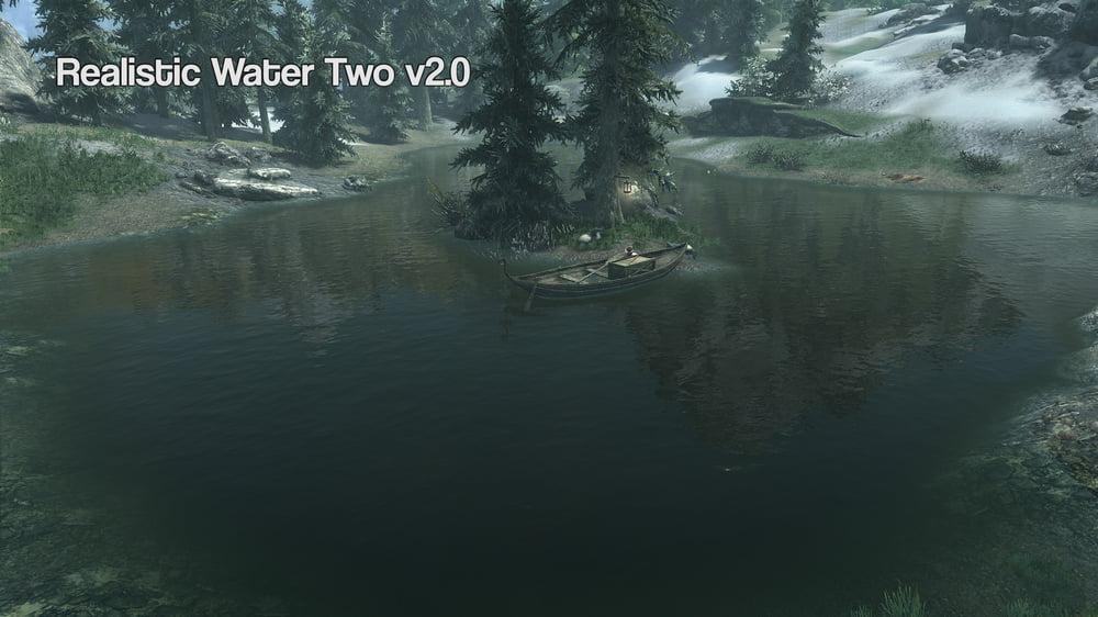 Ein See in Skyrim VR mit Insel und Tannen
