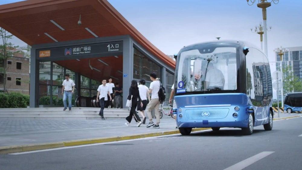 Der autonom fahrende Minibus Apollong von Baidu.