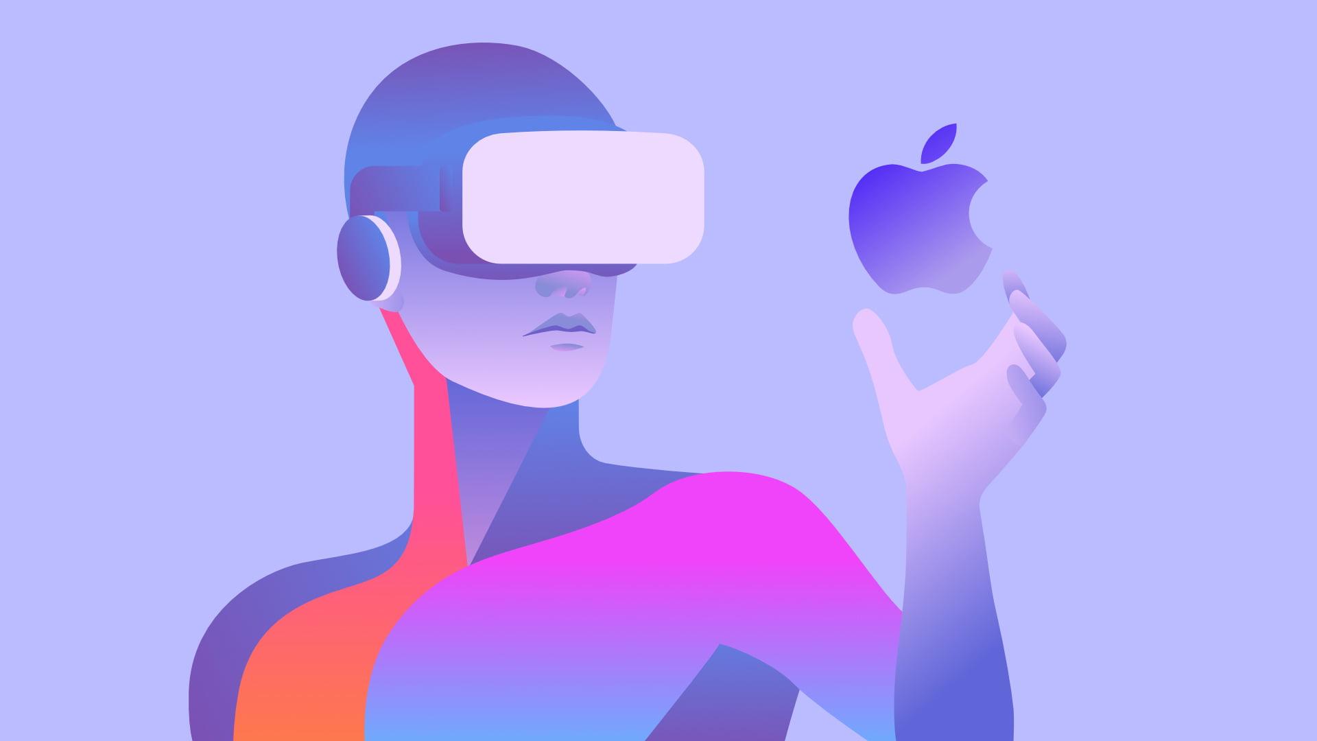 Grafik einer Person mit VR-Brille, die das Apple-Logo in der Hand hält