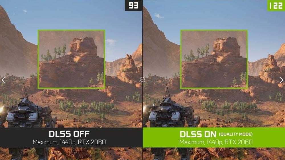 Vergleichsbild von Videospielgrafik und Bildwiederholrate mit und ohne DLSS. Mit DLSS hat das Spiel deutlich mehr Bilder pro Sekunde bei gleicher Bildqualität.