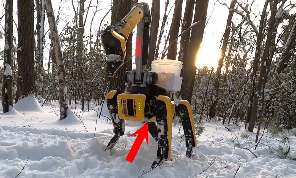 Der Roboterhund Spot Mini ist im Bild, ein Pfeil zeigt auf eine Schwachstelle auf seiner Unterseite.