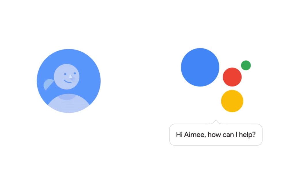 Eine Grafik, die eine Interaktion zwischen Nutzer und Google Assistant darstellt.