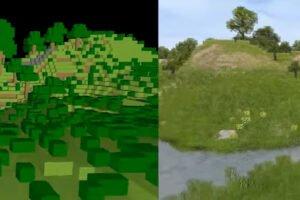 GANcraft: Nvidia-KI macht Minecraft-Stil schön