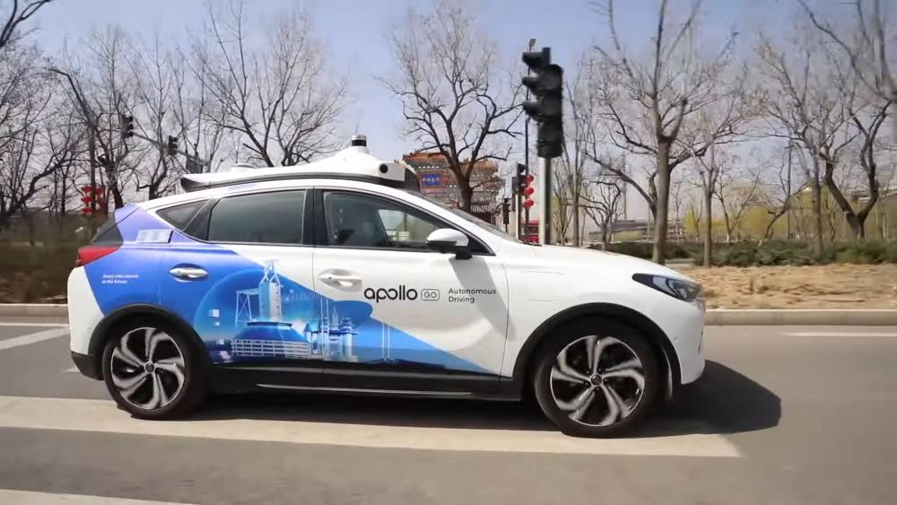 Ein autonom fahrendes Taxi von Baidu in Peking.