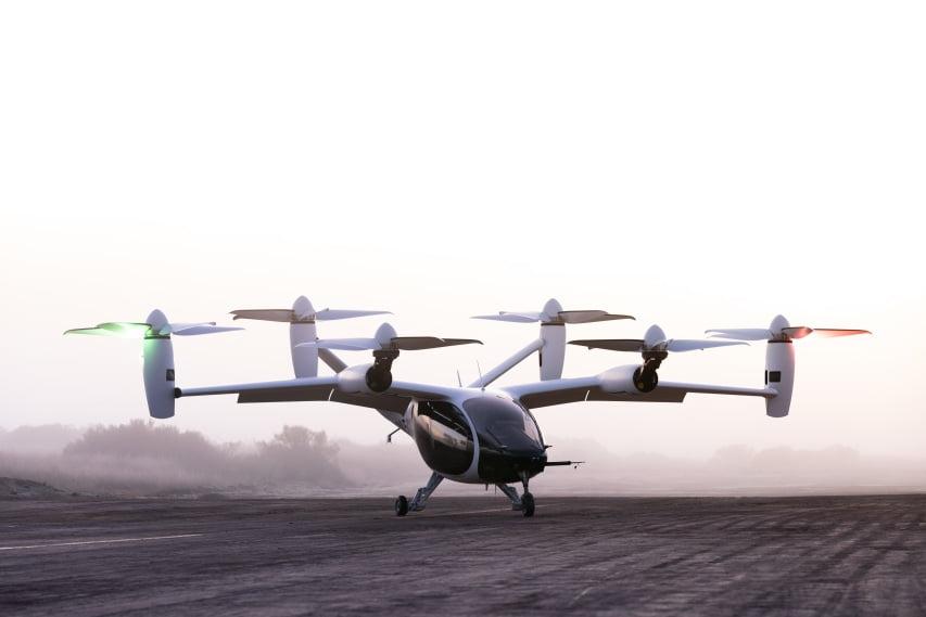 Ein eVTOL von Hersteller Joby Aviation am Landeplatz.